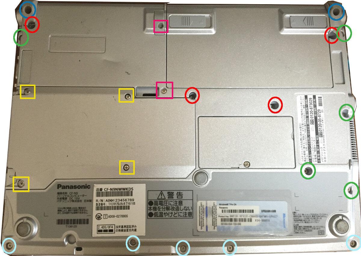 レッツノート S9の裏面(底面)ねじ図解