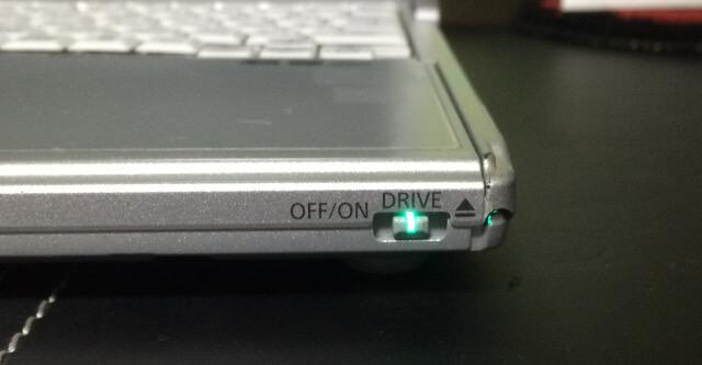 レッツノートS9のDVDドライブのランプが点灯してるか確認