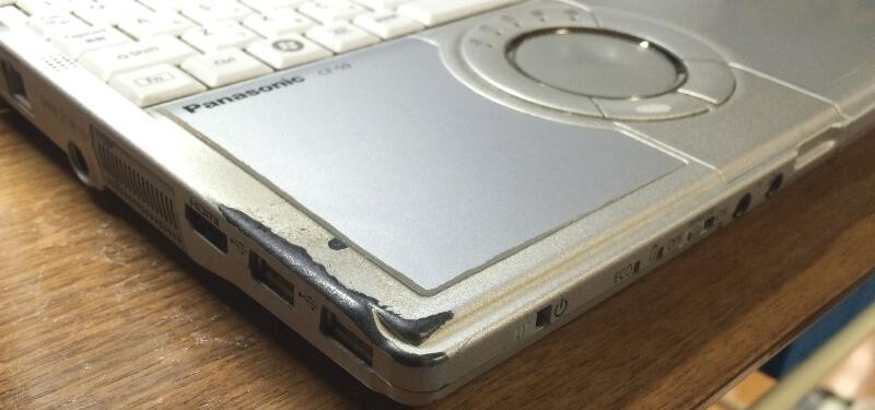ジャンクのレッツノートCF-S9でトップカバーの汚れがひどい