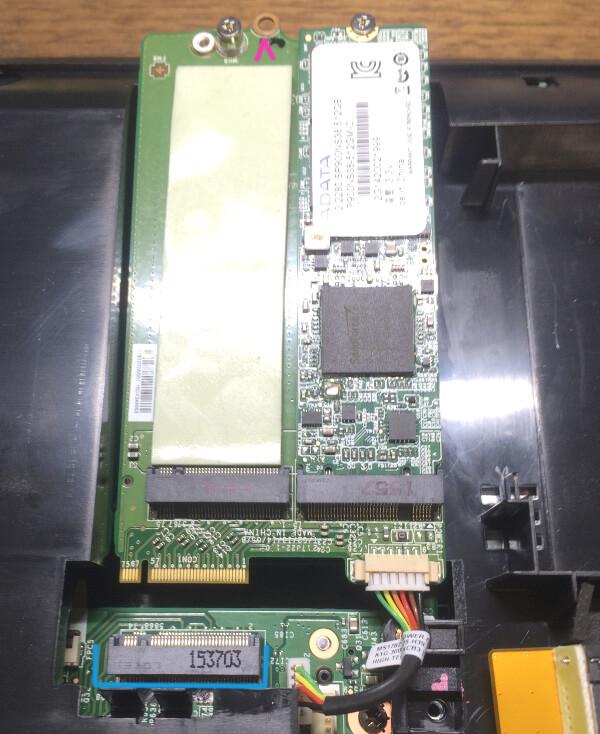 ドスパラののノートパソコンPrimeNote「Galleria QFS980HGS」SSDの差込口