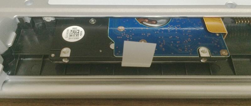 レッツノートLX3でHDD交換(SSD換装)のために中からHDDを引っ張り出したところ