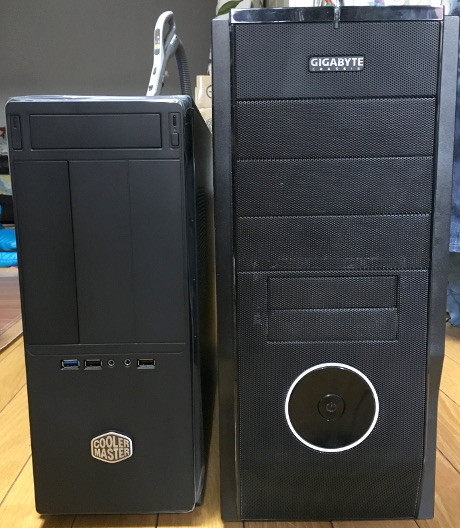 Elite361と前のPCケース比較(前から)