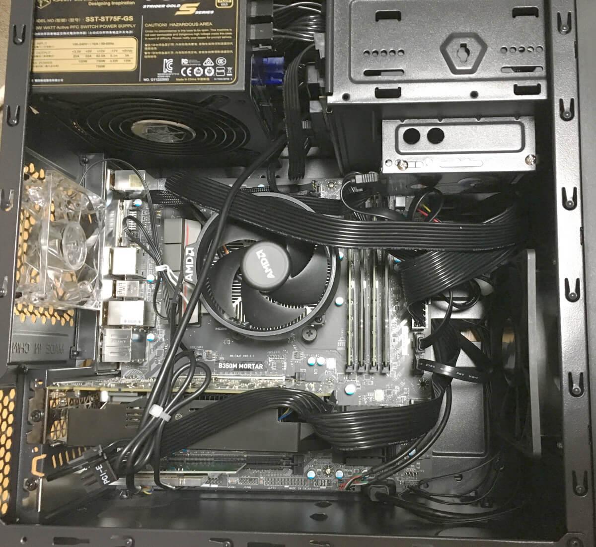 ryzen7 1700の自作パソコンをPCケース(舞黒透)で夫のメインマシンとして組み立てる