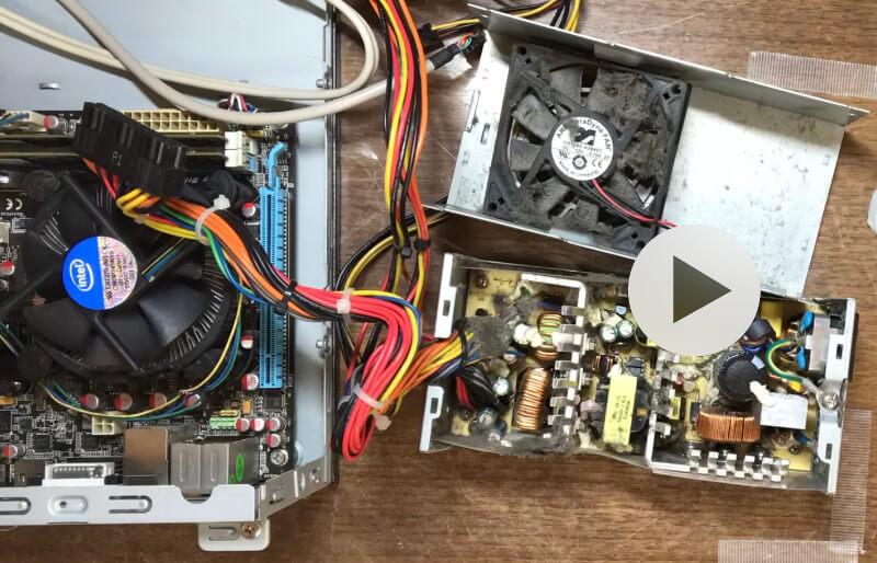 Mini-ITXのSTX電源を開けたところ
