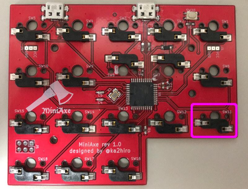 自作キーボードminiaxe製作で、キーボードのソケットを逆向きにしたところ