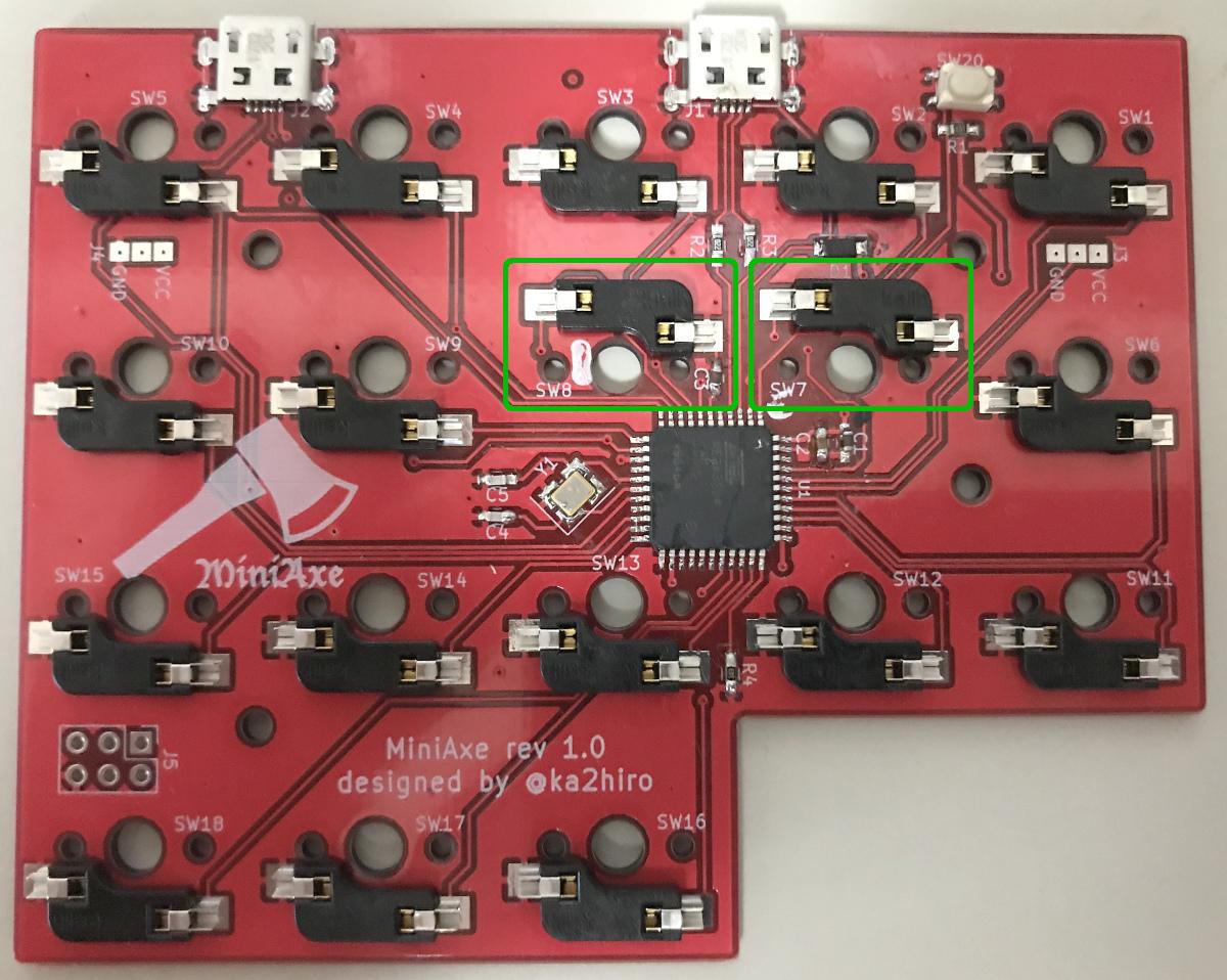 自作キーボードminiaxe製作で、キーボードのソケットを載せる