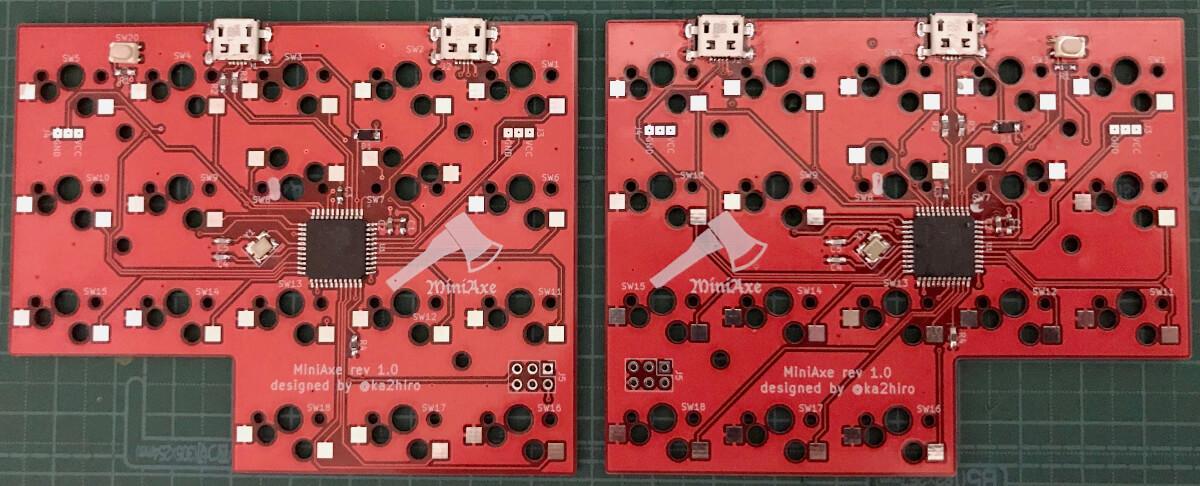 自作キーボードminiaxe製作で、PCB上のパーツのはんだ付けが終わったところ