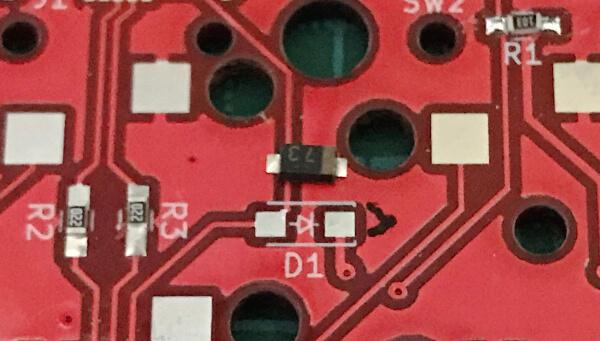 自作キーボードminiaxe製作で、ショットキーダイオードの向きを確認