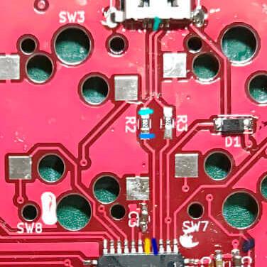 自作キーボードminiaxeを作るとき、PCB上だけで導通チェックするパタン2