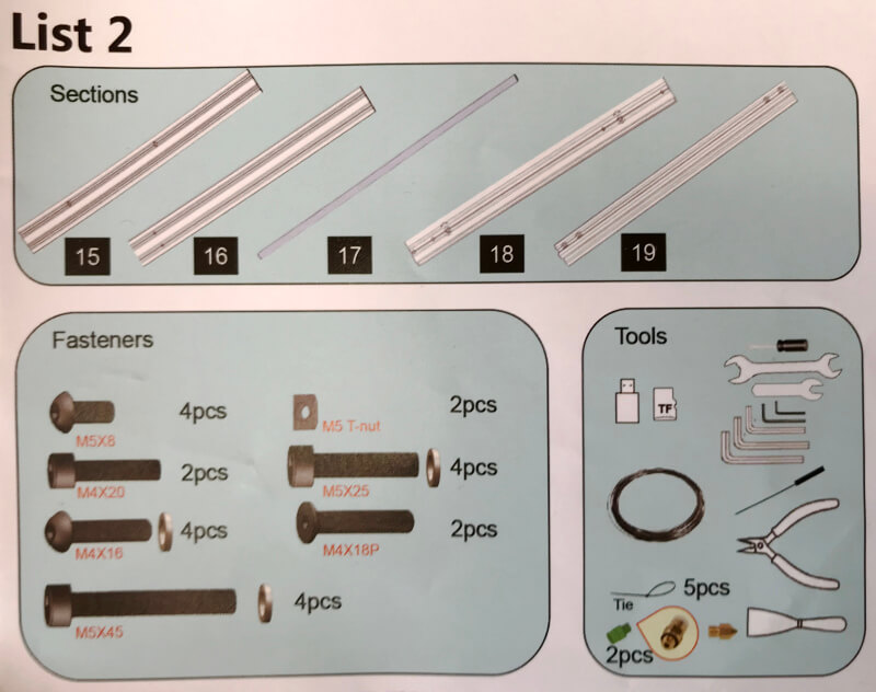 Ender-3xのパーツと工具