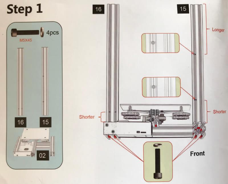 Ender-3xの支柱をつける