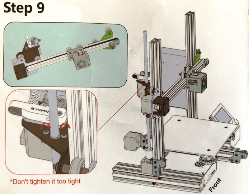Ender-3xでX軸の棒を支柱に通す
