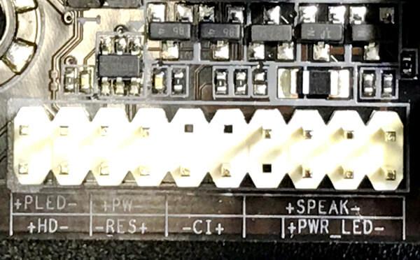 B450M-DS3Hのフロントパネルのケーブル差込口