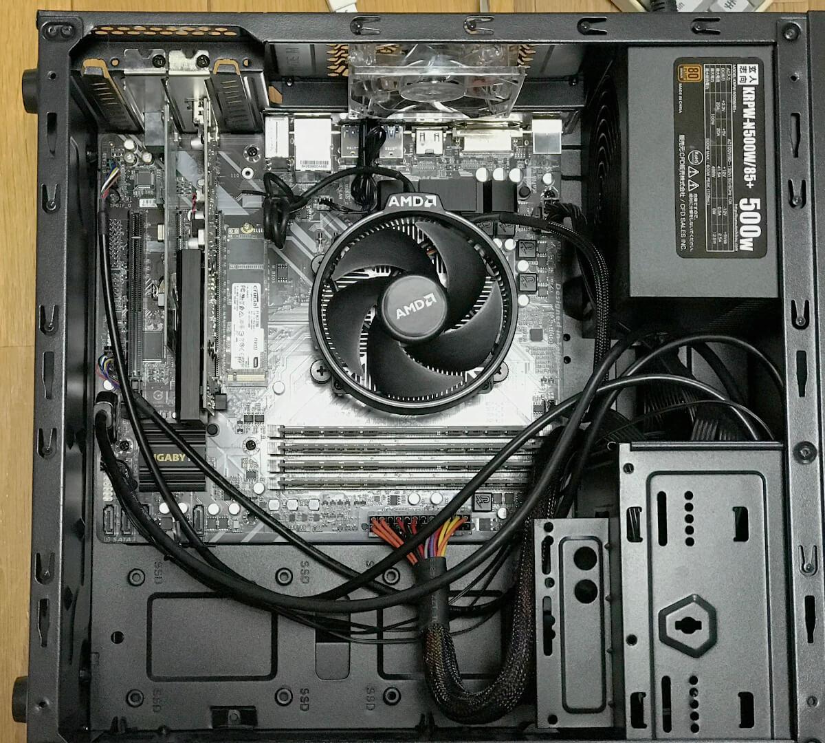 Ryzen7 1700をB450M-DS3Hに載せた自作パソコン