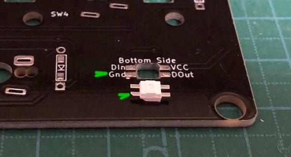 自作キーボード7sKB(MX版)のPCBにLEDを乗せる