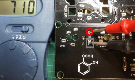 自作キーボード7sKB(MX版)でダイオードの通電を確認
