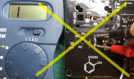自作キーボード7sKB(MX版)でダイオードの通電を確認、逆