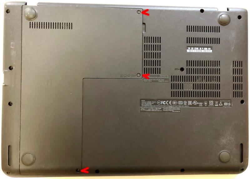 lenovoのノートパソコンThinkPadのEdge E460底面図