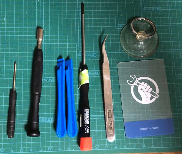 iPhone6sのバッテリー交換に使った工具