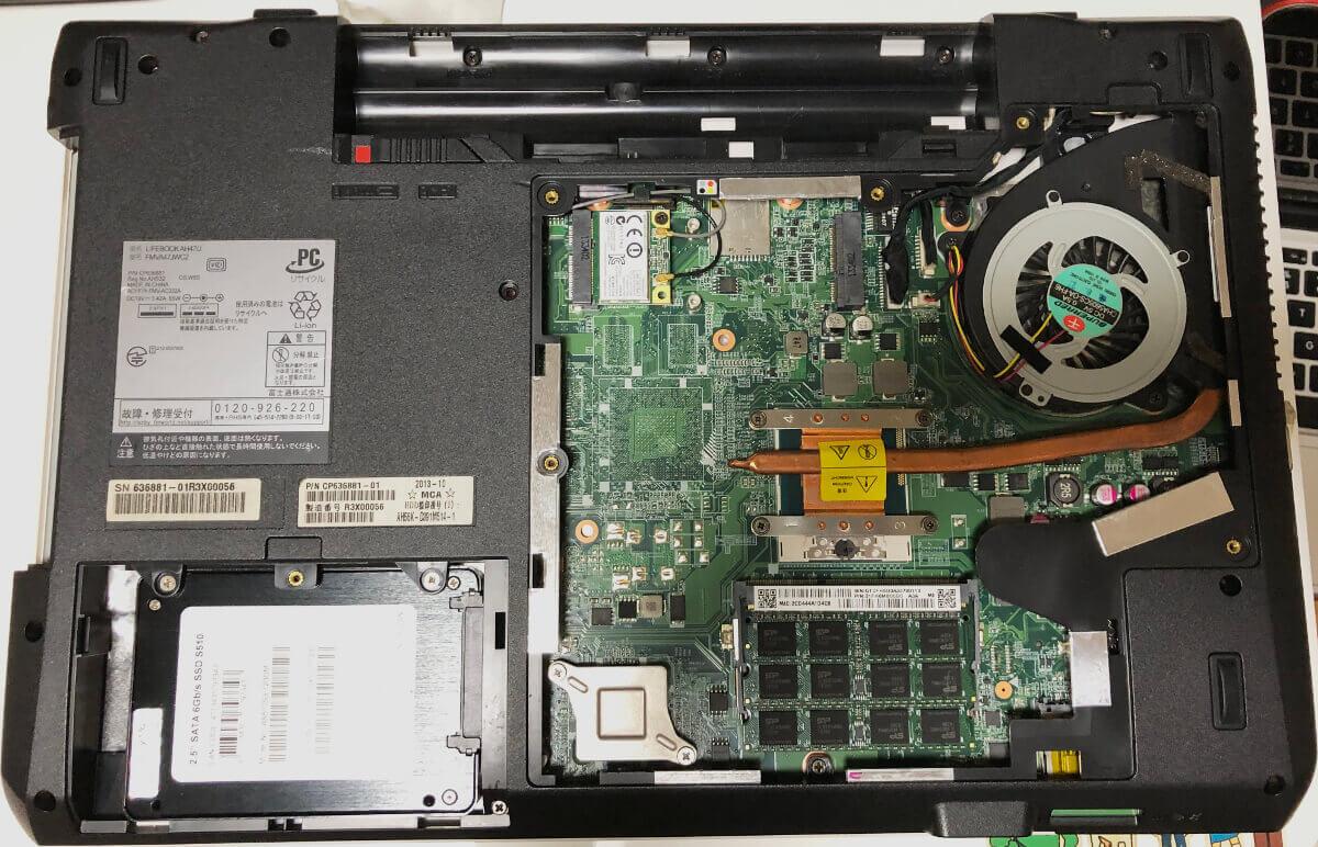 富士通のノートパソコンLifebookのAH47でメモリ増設&SSD換装が完了