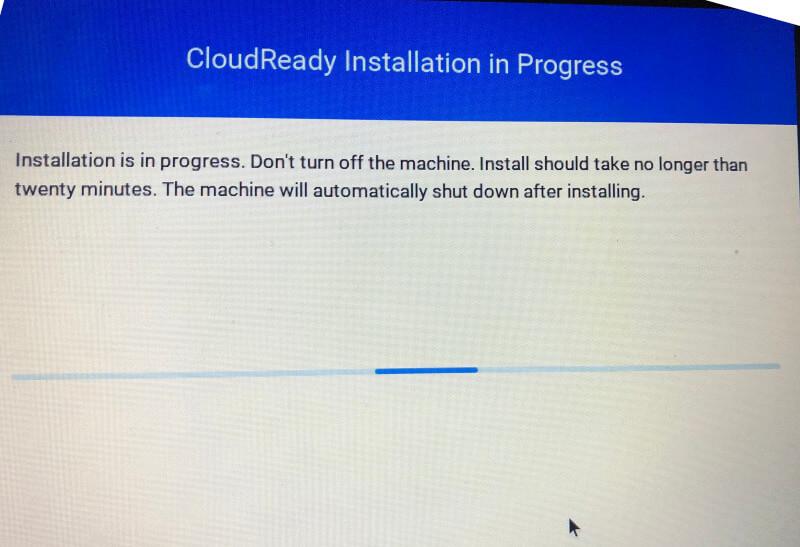 ClouReady Installation in Progres